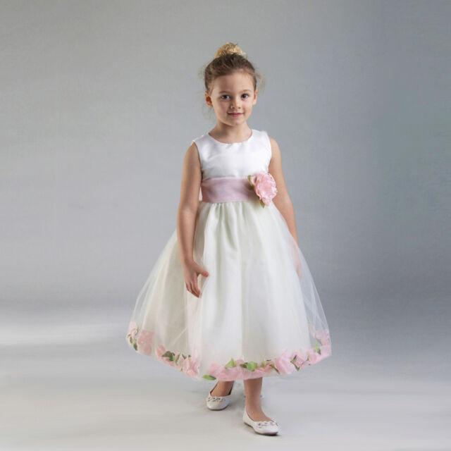 Stunning White Christening Flower Girl Dress w/Pink Petals Crayon Kids USA