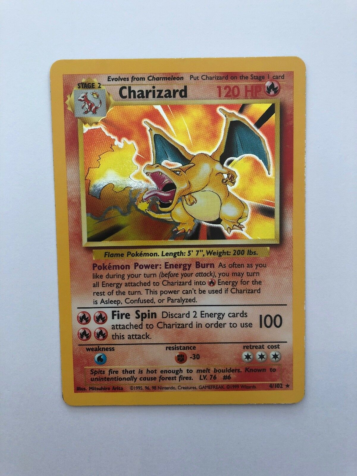 Pokemon Base Set Charizard 4 102 Holo Rare Unlimited Lightly Played PLAYED