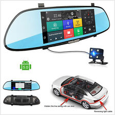 "7"" HD 1080P Bluetooth WIFI 3G Autos Dual Cam Rearview Mirror DVR Video Recorder"