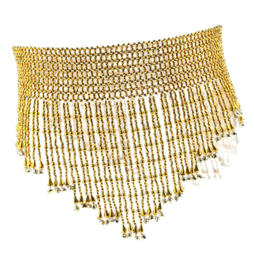 Shiny Belly Dance Waist Chain Hip Skirt Scarf Belt with Bells Beaded Tassels