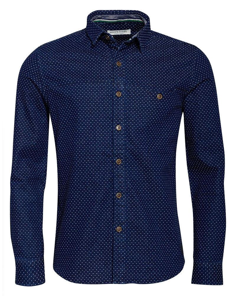 ANERKJENDT Sofus Shirt Herren Hemd dunkelblau Langarmhemd Blau Dayshirt Humör
