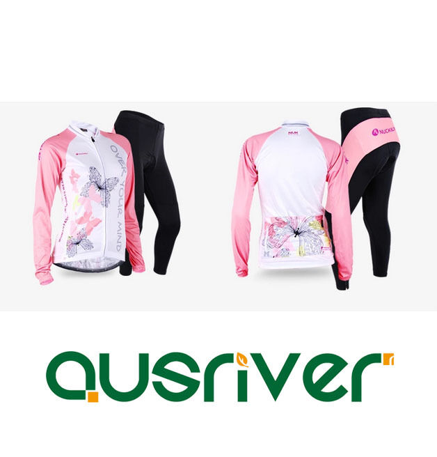 Women Long Sleeve Bicycle Cycle Shirt Jersey Padded Pants Shorts Cycling Suit