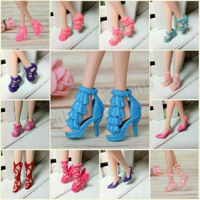 80pcs Mixed Different High Heel Shoes Boots For Barbie Doll Clothes Toy Gifts ❤
