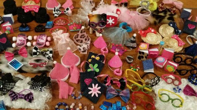 Littlest Pet Shop LPS 6 Accessories Clothes Glassses Phone Lot of 6 No  LPS Pet