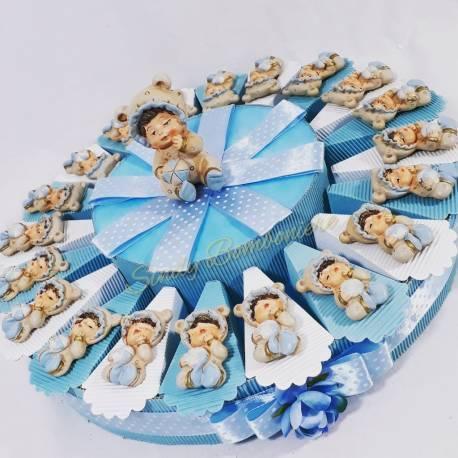 TORTA BOMBONIERE BIMBO magnete palla SPEDIZIONE INCLUSA nascita battesimo *