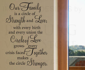 Wall Decal Sticker Quote Vinyl Art Our Family Is A Circle Of