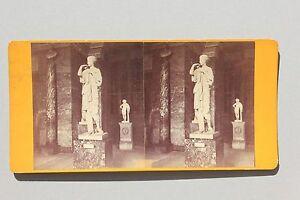 Museo-Del-Louvre-Soprammobile-Parigi-Stereo-di-Carta-Vintage-Albumina-Ca-1870