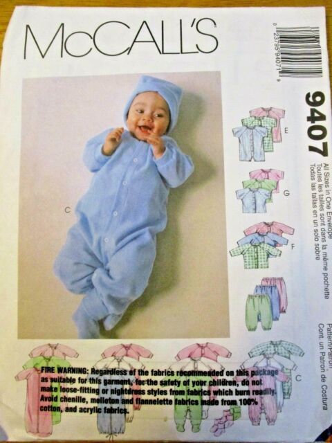 McCall's Sewing Pattern no.9407 INFANTS JUMPSUIT & SHIRT Prem-New-Sm-Med 7-18lbs