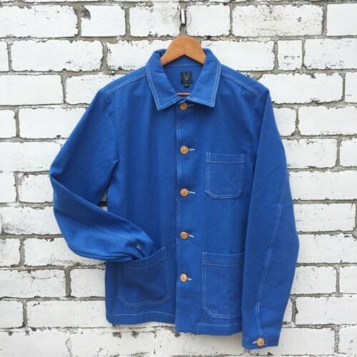 60s Style French Cobalt Blue Cotton Twill Canvas Chore Worker Jacket All Sizes