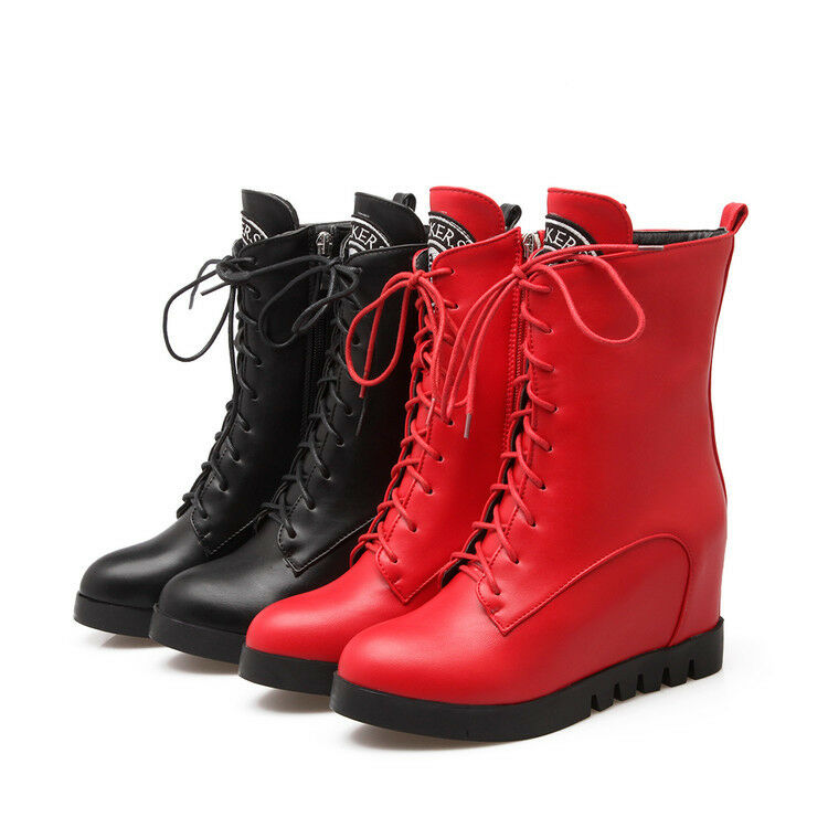 Women's Round Toe Strappy Zipper High Platform Hidden Heels Ankle Boots Shoes