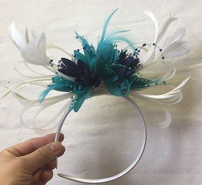 Cream Turquoise Teal Navy Fascinator on Headband UK Wedding Ascot Races Loop