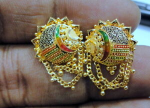 Image Is Loading Gold Earrings 22 K Solid Gold Handmade Traditional