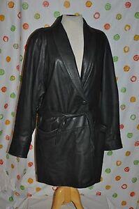 Belted Retro Læder Women's Coat Black Vintage International Large 8qwTCX