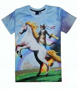Chat-cheval-licorne-avec-Golden-Gun-T-Shirt-All-Over-Drole-Imprime-Impression-TEE