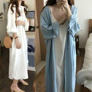 Lady-Loose-Long-Shirt-Blouse-Dress-Retro-Casual-Cotton-Oversized-White-Blue-Chic