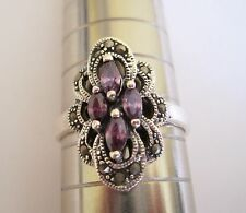 Solid Sterling Silver Marcasite + Purple Amethyst CZ Cluster Ring.Size J 1/2.