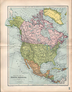 Map Of America Ebay.Details About 1903 Map North America Dominion Of Canada United States America Mexico