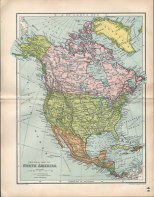1903 MAP ~ NORTH AMERICA ~ DOMINION OF CANADA UNITED STATES AMERICA MEXICO  | eBay