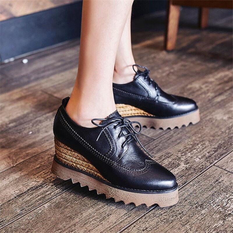 Para Mujeres Mujeres Mujeres con cordones Cuña Tacón Alto Plataforma Oculta Tacón Esponja Zapatos botas al tobillo  envío rápido en todo el mundo