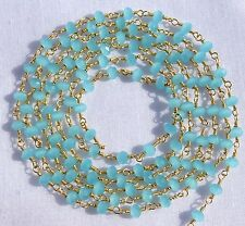 50 Feet Sea Blue Chalcedony 24k Gold Plated 3.50mm Beads Wire Wrapped Link Chain