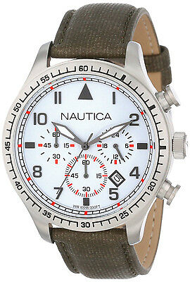 Nautica N16580G White Chronograph Date Dial Brown Leather Strap Men's Watch