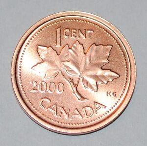 2000 1 Cent Canada Zinc Nice Uncirculated Canadian Penny