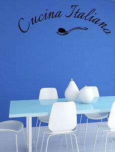 CUCINA ITALIANA ITALIAN KITCHEN QUOTE WALL ART DECAL STICKERS ...