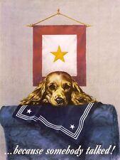 PROPAGANDA WAR WWII LOOSE TALK GOLD STAR SAD DOG NAVY UNIFORM USA POSTER LV3757