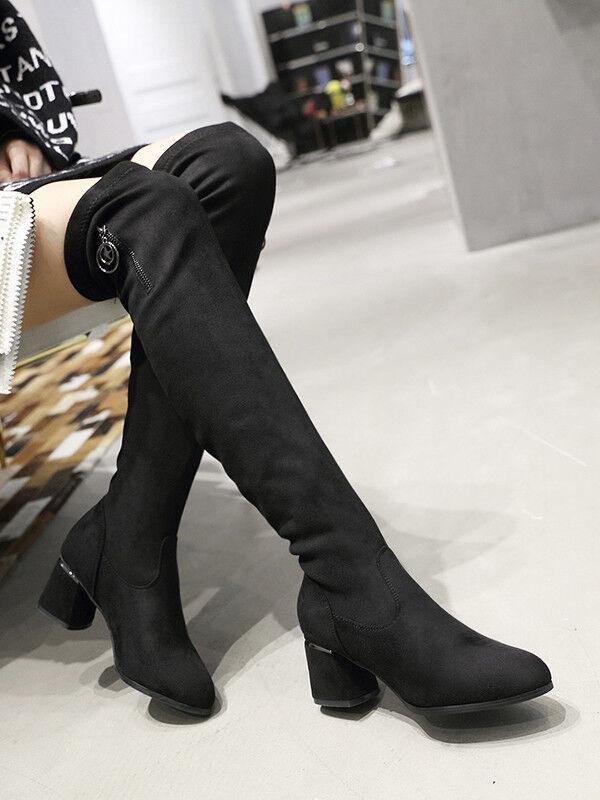 Stiefeletten Stiefel Absatz Eckig Schwarz Schenkel 7 cm Bequem Leder Kunststoff