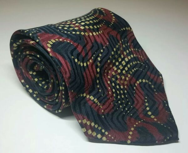 6d181e966c37 Giorgio Armani Men's Wide Silk Necktie Black Red Gold 56.5' ...