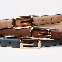 "Women Golden Buckle Genuine Leather 1"" Belt Fashion Belt B432"
