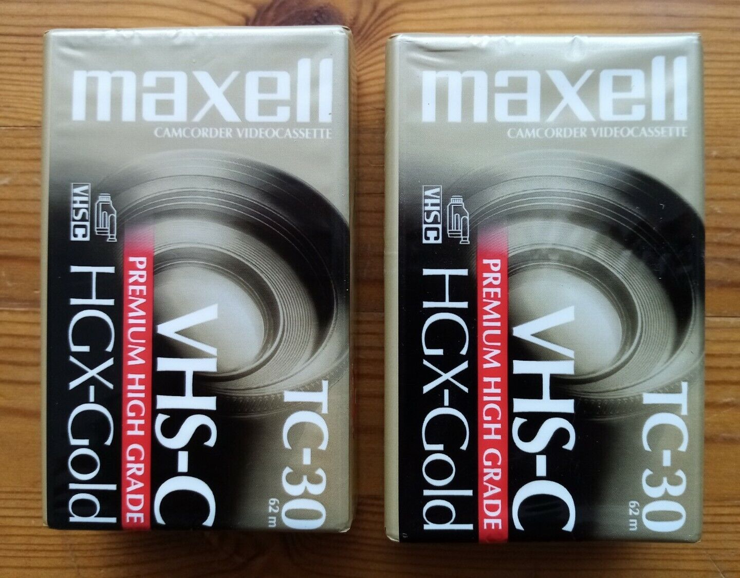 TWO New Sealed Maxell HGX Gold VHSC Video Tapes