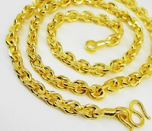 Mens Chain 22K 23K 24K Thai Baht Gold GP Necklace 25 Inch 79 Grams