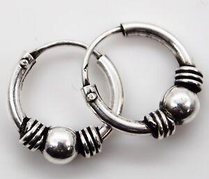 Boucles-d-039-oreilles-anneaux-Bali-ethnique-creoles-argent-925-sterling-silver