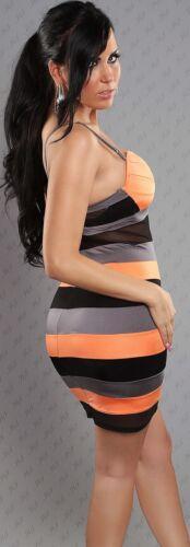 Kleid Minikleid Push-Up Abendkleid Spitze gestreift Koucla Clubkleid Multicolor