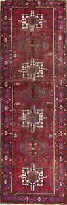 Vintage-Tribal-Geometric-Oriental-Hand-Knotted-3-039-x11-039-Red-Runner-Wool-Rug