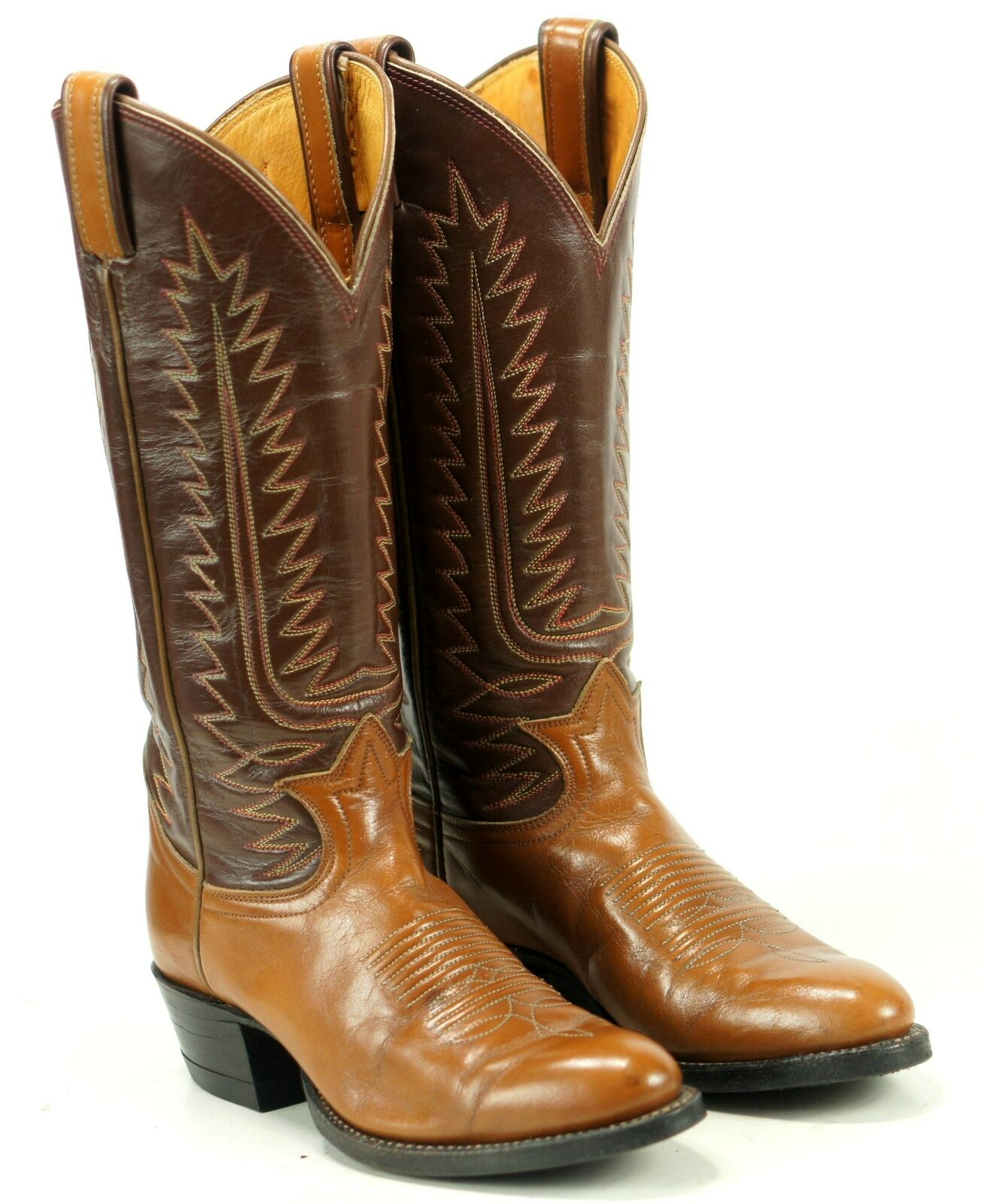 Tony Lama Women's Brown Leather Western Cowboy Boots Boho Vintage US Made 4.5 B