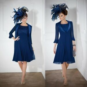 Navy-Blue-2-PCS-Mother-Of-The-Bride-Groom-Dresses-Outfits-Jackets-Knee-Length