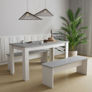 Fabulous Details About Modern Dining Table 2 Bench Set Mdf Dining Room Kitchen Furniture White Grey Alphanode Cool Chair Designs And Ideas Alphanodeonline
