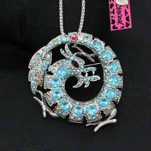 Women-039-s-Blue-Crystal-Dragon-Pendant-Chain-Betsey-Johnson-Necklace-Brooch-Pin