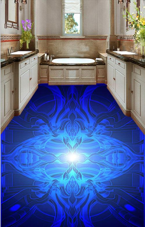 3D Cool Light Blau Light Floor Mural Photo Flooring Wallpaper Print Home Decal