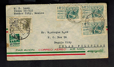 Nordamerika 1956 Mexico Stadt Mexico Zu Baguio Philippinen Luftpost Abdeckung Mexiko