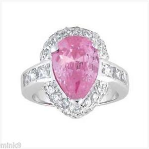 7-8-carat-Pink-Teardrop-Cz-Genuine-Sterling-Silver-Ring-Size-9