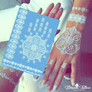Temporary Tattoo White Henna Lotus Flower Daisy Lace Hand