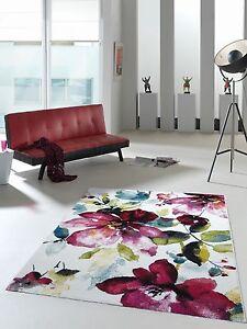Das Bild Wird Geladen Designer Teppich Modern Trendiger Kurzflor Teppich  Bunt Blumen