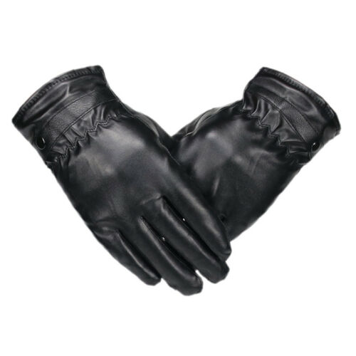 Mens Balck Leather Glove Winter Warm Touch Screen Windproof Driving Gloves