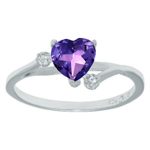 .70 Ct Heart Natural Purple Amethyst White Topaz Sterling Silver Ring Sz 7