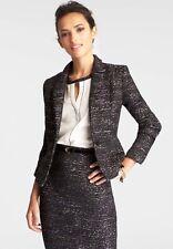 Ann Taylor Marled Tweed Blazer Jacket Purple Motif Size 0P