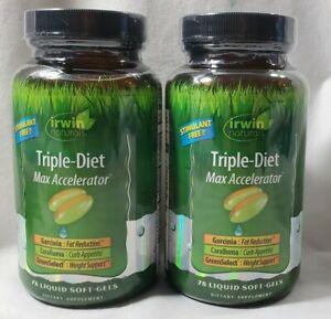 Irwin Naturals Triple Diet Max Accelerator ~2-PK /78 Softgels Each ~**Exp 7/20+