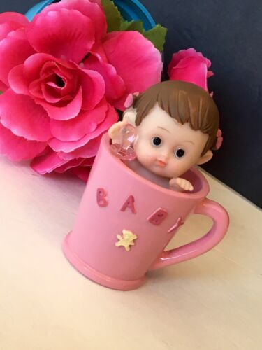 1PC Baby Shower Girl Tea Cup Pink Cake Topper Table Decorations Figurines